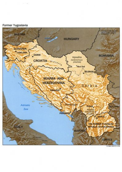 CIA Map of Former Yugoslavia 1996. Print/Poster (5145)